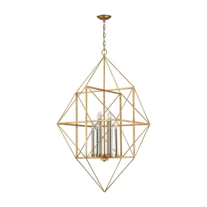An Lighting Connexions 8 Light Antique Gold And Silver Leaf Pendant Tn 999713 The Home Depot