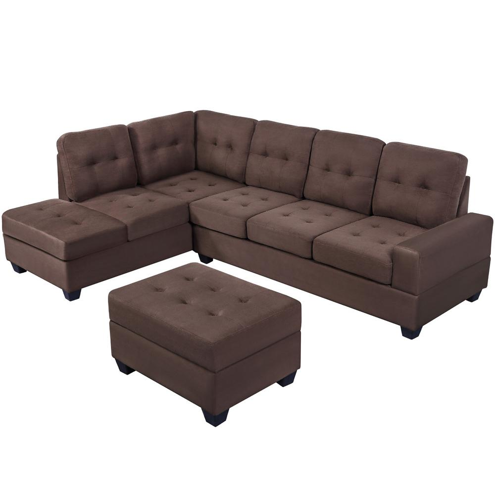 boyel living 3 piece sectional sofa microfiber with reversible chaise lounge storage ottoman and cup holders brown or sg000099aaa the home depot