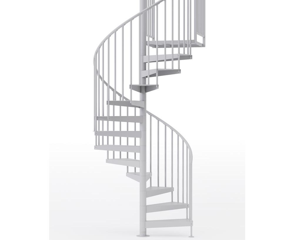 Mylen Stairs Condor White Interior 60 Diameter 11 Treads With 2 | Flexible Handrail For Spiral Staircase | Staircase Ideas | Stair Kit | Loft Stairs | Stair Parts | Modern Staircase