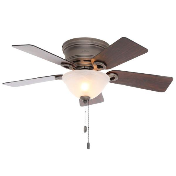 Hunter Conroy 42 in  Indoor White Low Profile Ceiling Fan with Light     Indoor White Low Profile Ceiling Fan with Light Kit 51022   The Home Depot