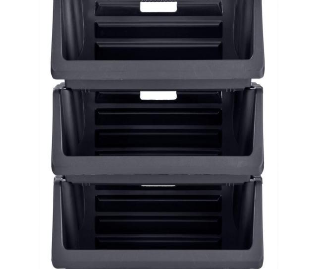 Muscle Rack Stackable Storage Bin In Black 3 Pack