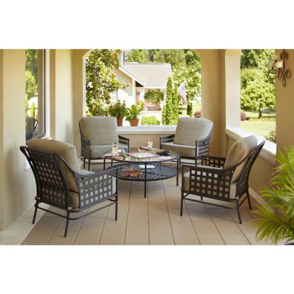 outdoor conversation sets patio furniture Hampton Bay Lynnfield 5-Piece Patio Conversation Set with