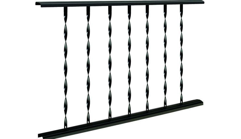 Village Ironsmith Classic 4 Ft W X 28 In H Black Steel Rail   Metal Handrail Home Depot   Wood   Stair Railings   Aluminum Railing   Outdoor Handrails   Staircase