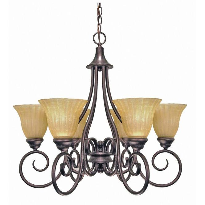 6 Light Copper Bronze Chandelier With Champagne Linen Washed Glass Shade