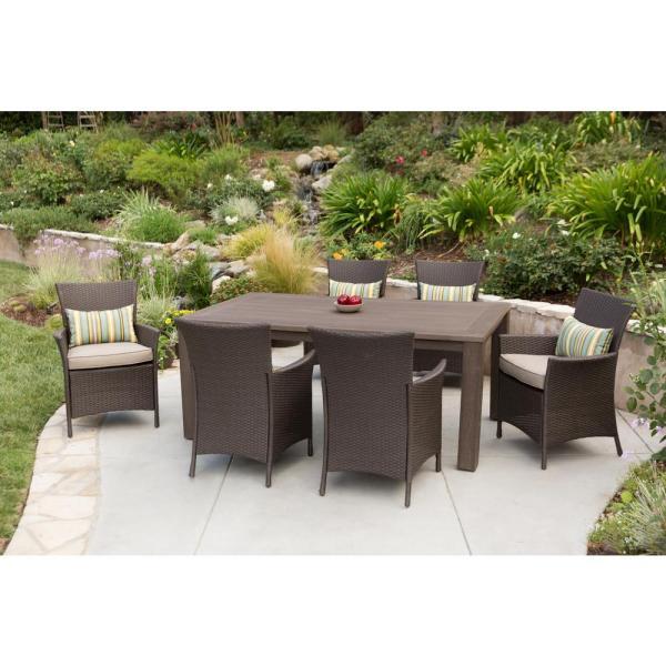 7 piece outdoor wicker patio dining sets Hampton Bay Tacana 7-Piece Wicker Outdoor Dining Set with