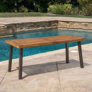 Wood Patio Furniture   Patio Tables   Patio Furniture   The Home Depot DellaTeak Finish Rectangle Wood Outdoor Dining Table