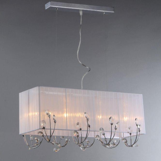 Warehouse Of Tiffany Hephaestus 4 Light Chrome Chandelier With White Shade Rl79374 The Home Depot