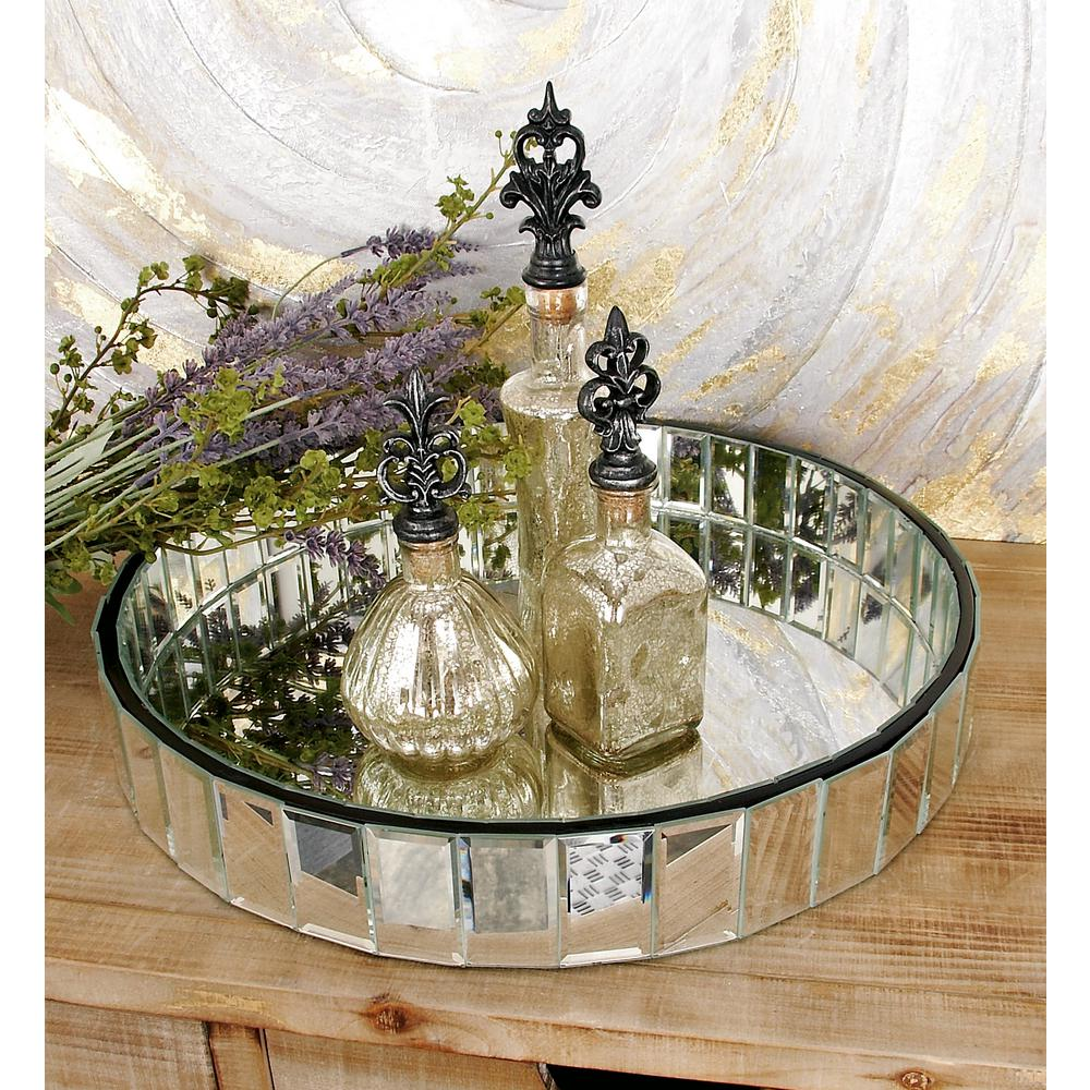 18 In W X 3 In H Clear Round Decorative Tray With Geometric Mirror Facets 87208 The Home Depot