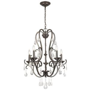 Hampton Bay 5 Light Oil Rubbed Bronze Chandelier With Hanging Crystals Ihx9115a The Home Depot