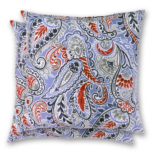 hampton bay 18 in x 18 in denim paisley square outdoor throw pillow 2 pack