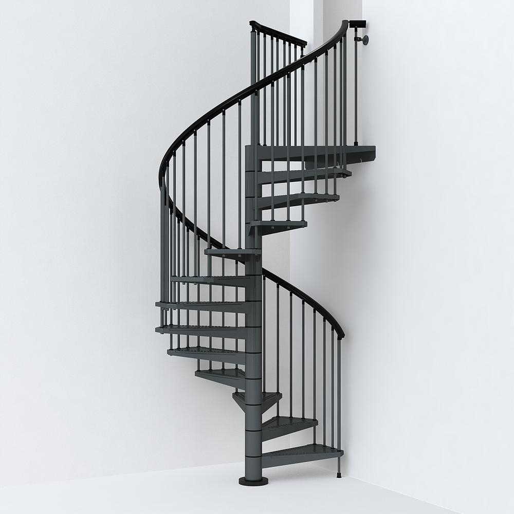 Sky030 63 In Iron Grey Spiral Staircase Kit K26290 The Home Depot | Metal Spiral Staircase Cost | Iron | Deck | Stainless Steel | Stair Parts | Staircase Kits