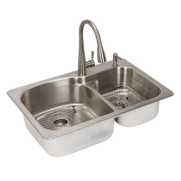 Glacier Bay All in One Dual Mount Stainless Steel 33 in  2 Hole     Glacier Bay All in One Dual Mount Stainless Steel 33 in  2