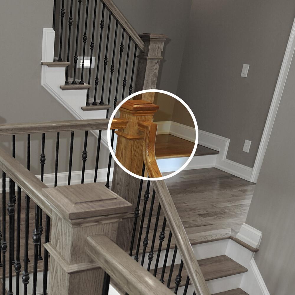 Stair Parts 7099 Unfinished Poplar 2 Rise Gooseneck Straight No | Poplar Stair Treads Home Depot | Newel Cap | 000 0000L | Quarter Turn | Baluster | Rosette