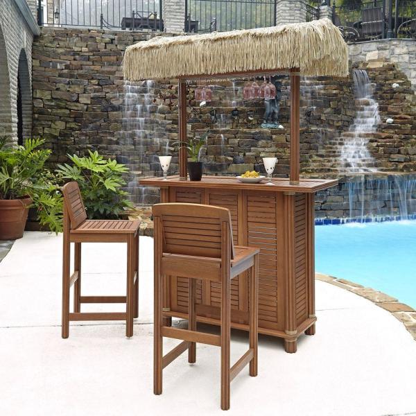 outdoor patio bar sets Home Styles Bali Hai Outdoor Patio Tiki Bar and 2-Stools