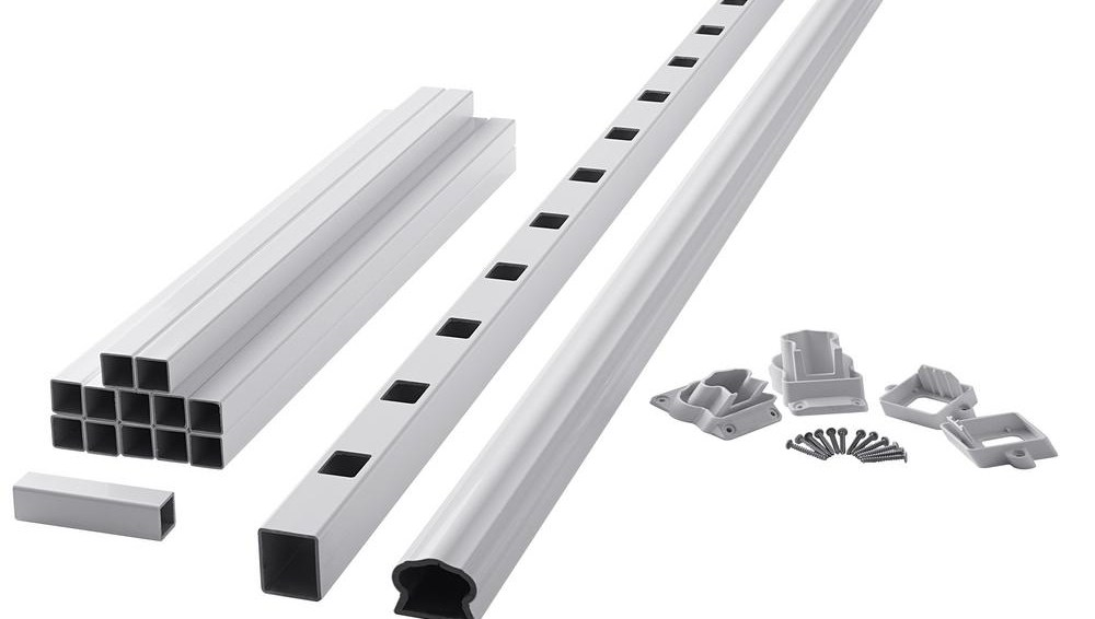 Fiberon Armorguard Deluxe 72 In White Composite Stair Rail Kit   Home Depot Stair Railing   Decorative Iron Stair Rail Support   Staircase   Brushed Nickel   Entry   Post