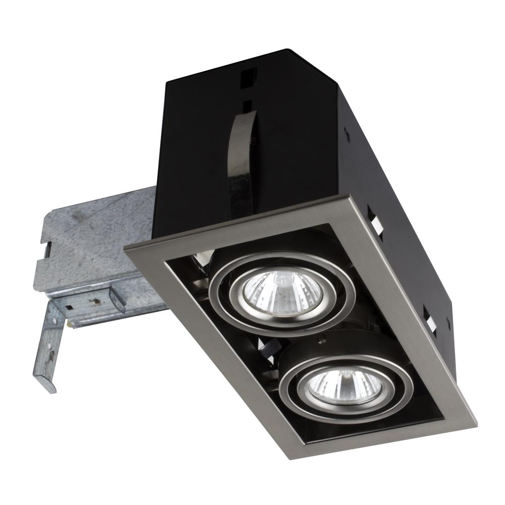 BAZZ Double Cube 9 In Brushed Steel Recessed Halogen Kit CUBG302B The Home Depot