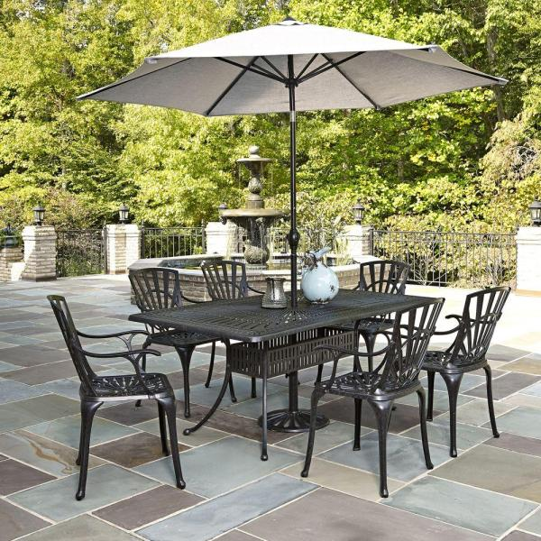 outdoor patio 7 piece dining set Home Styles Largo 7-Piece Outdoor Patio Dining Set with