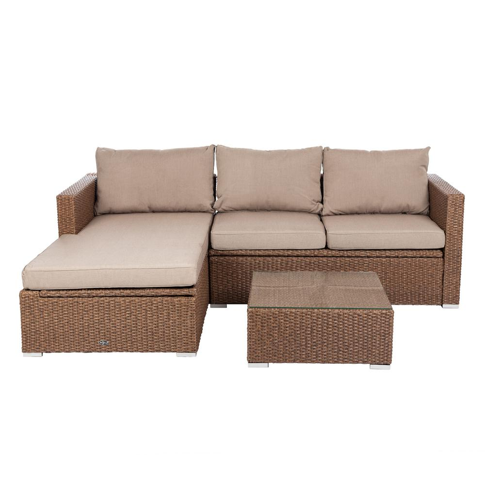 Patio Sense Tristano 3-Piece Wicker Outdoor Sofa Set with ... on Outdoor Loveseat Sets  id=61483
