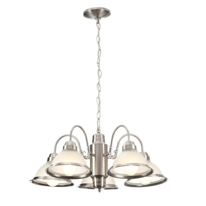 Hampton Bay Halophane 5 Light Oil Rubbed Bronze Chandelier With Frosted Ribbed Glass Shades Wb0390 Orb The Home Depot