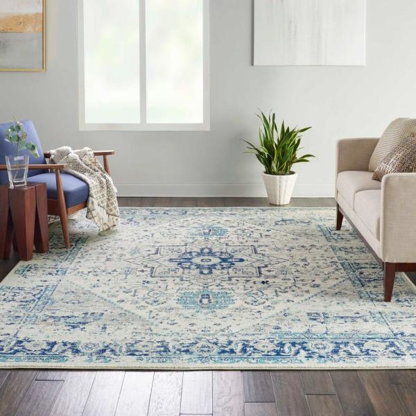Nourison Tranquil Ivory Navy 8 Ft X 10 Ft Persian Vintage Area Rug 485304 The Home Depot