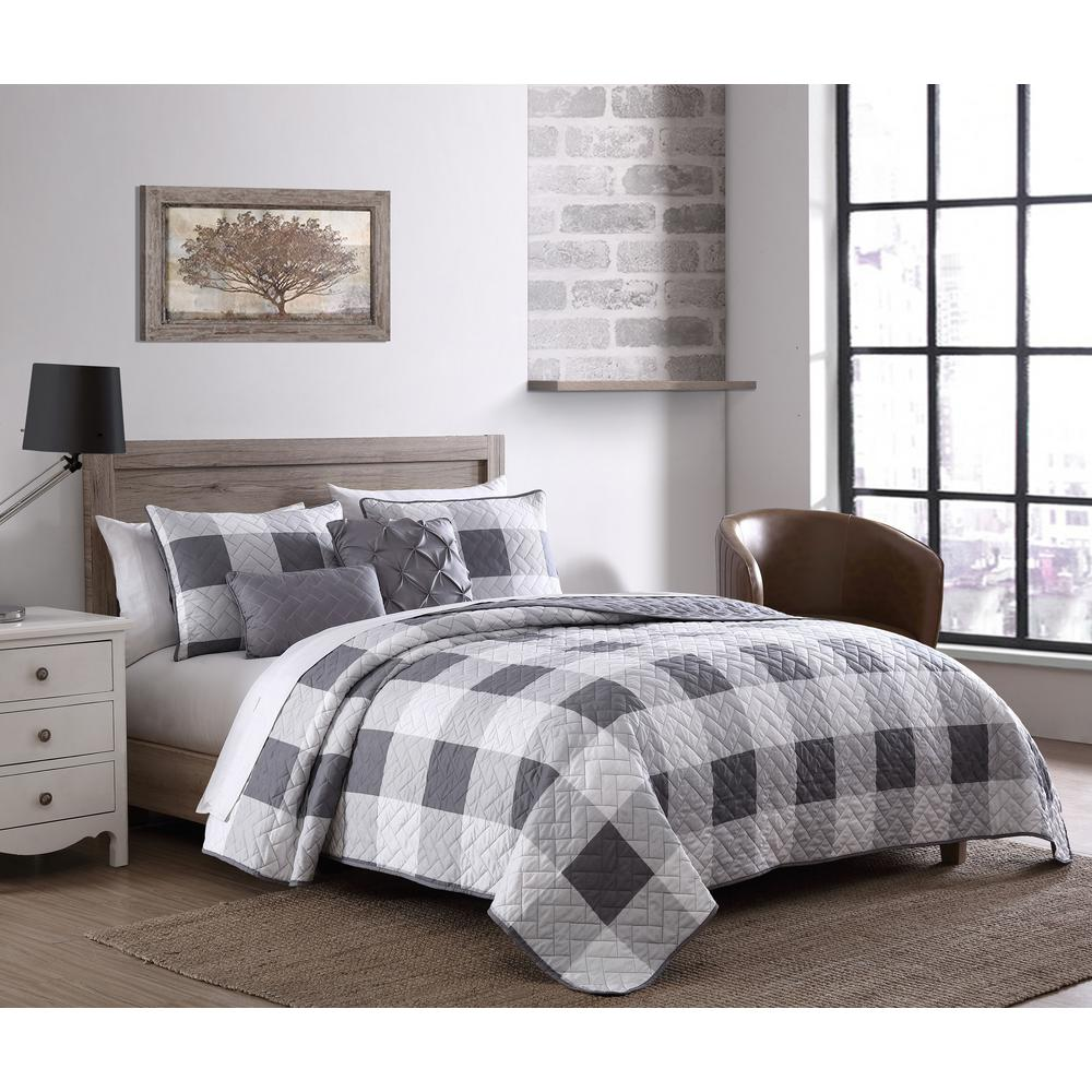 unbranded buffalo plaid 5 piece gray and white twin comforter set bfp5bbtwinghgw the home depot