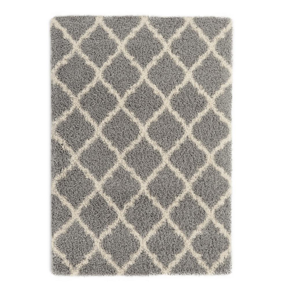 berrnour home plush moroccan trellis design grey 8 ft x 10 ft shag area rug pls2273 8x10 the home depot