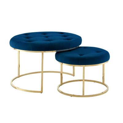 round blue ottomans living room