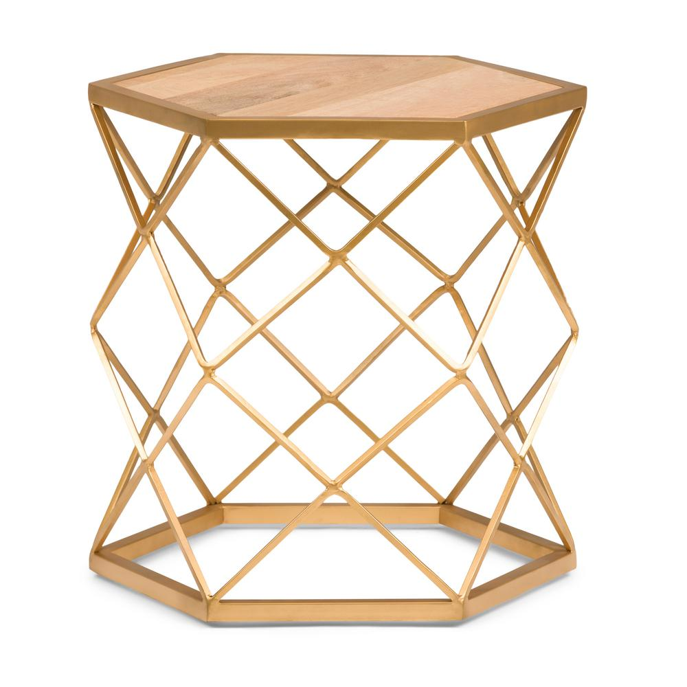 simpli home kristy round 20 in wide metal and wood accent accent side table in natural gold axcmtbl 14 the home depot