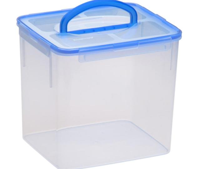Large Food Storage Container Plastic Handle 40 Cup Bpa Free Latch Airtight Lid