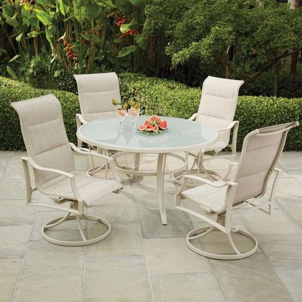 home depot 5 piece patio dining sets Hampton Bay Statesville Shell 5-Piece Aluminum Outdoor