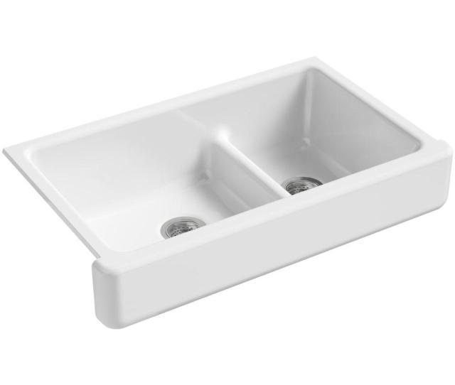 Kohler Whitehaven Farmhouse Apron Front Cast Iron  In Double Basin Kitchen Sink In White K   The Home Depot
