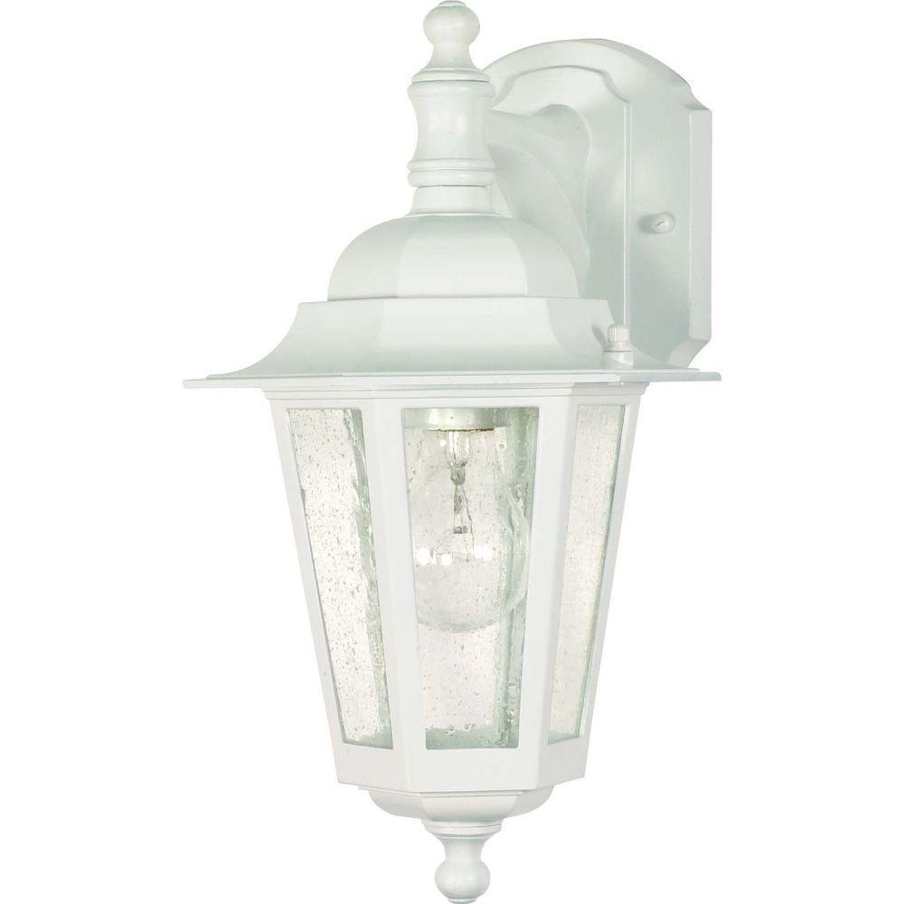 Glomar 1-Light Outdoor White Incandescent Sconce Light-HD ... on Sconce Outdoor Lighting id=13749