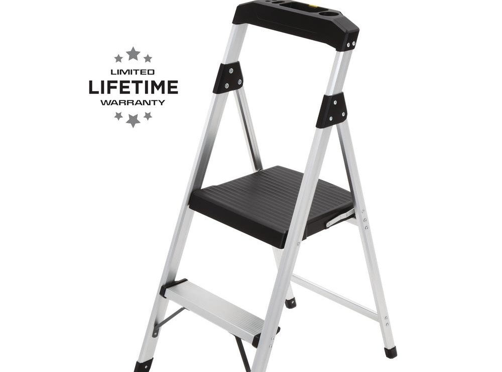 Gorilla Ladders 2 Step Aluminum Step Stool Ladder With 225 Lbs   Metal Steps Home Depot   Wrought Iron Railings   Flashing   Step Stool   Deck Railing   Stair Treads