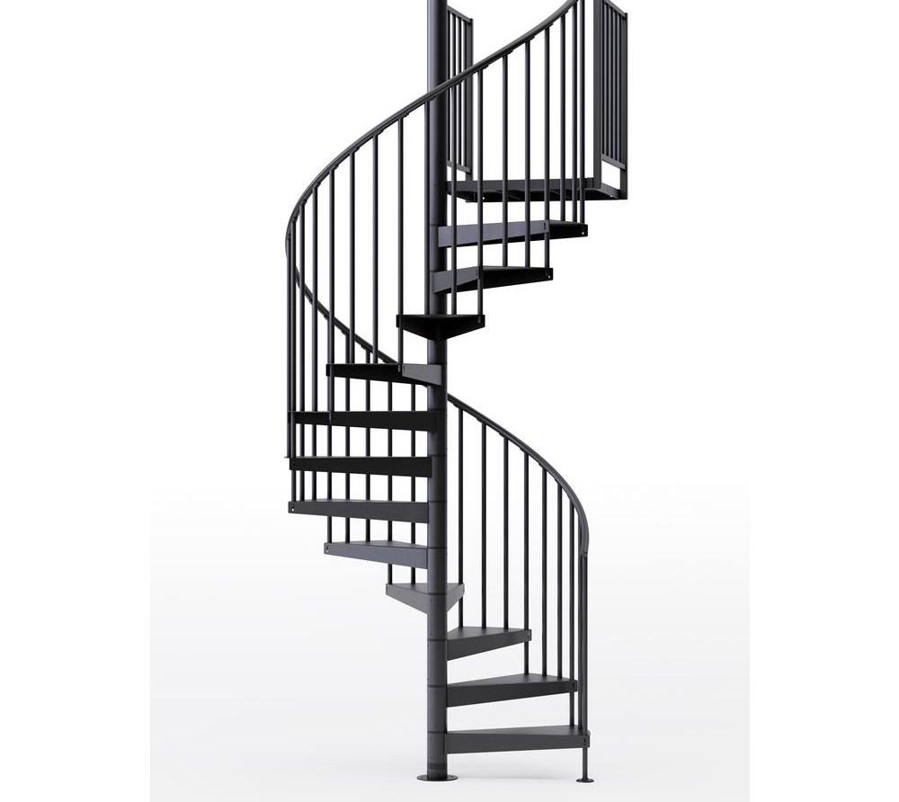 Mylen Stairs Condor Black Interior 60 Diameter 12 Treads With 2   Outdoor Spiral Staircase Home Depot   Stair Parts   Stair Case   Steel Spiral   Stair Kit   Handrail