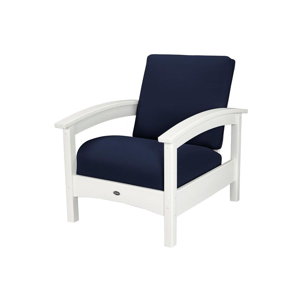 trex outdoor furniture rockport classic white all weather plastic outdoor lounge chair with sunbrella navy cushion txc23cw 5439 the home depot
