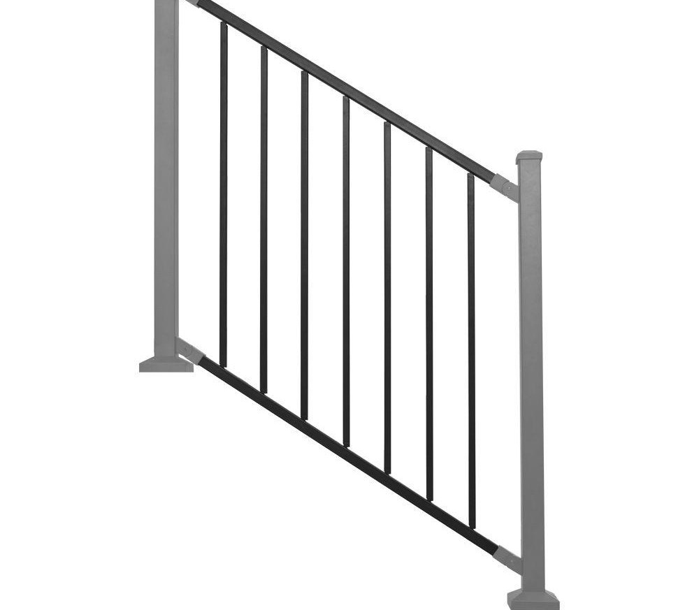 Railing Panel Black Metal Stair Rdi Common 8 Ft X 32 In   Wrought Iron Railings Home Depot   Brown   Ironsmith   Staircase   Fancy   Banister