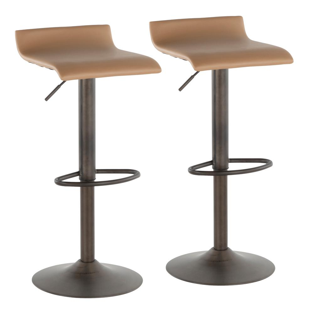 lumisource ale industrial adjustable antique and camel faux leather bar stool set of 2 bs ale an cam2 the home depot