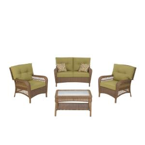 Martha Stewart Living Charlottetown Brown 4-Piece All ... on Martha Stewart Wicker Patio Set id=23603
