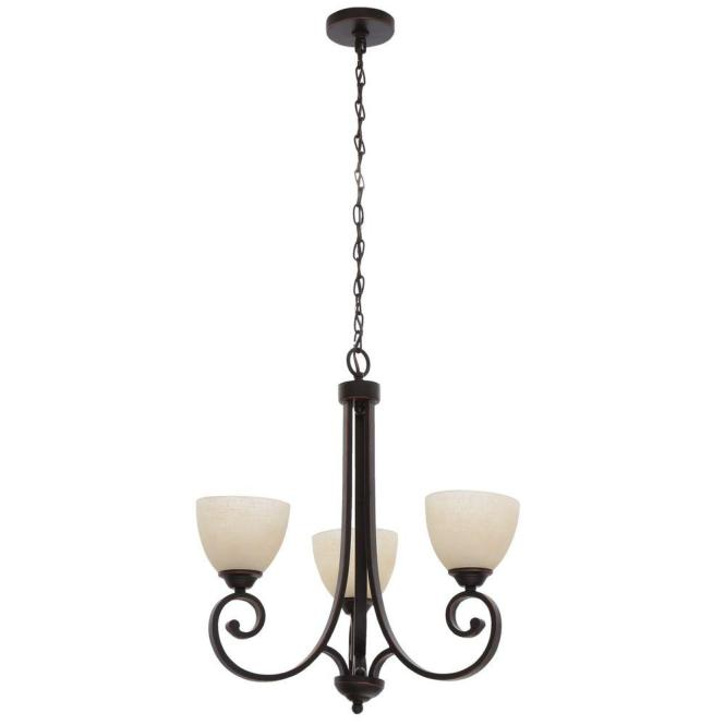 Hampton Bay Renae 3 Light Oil Rubbed Bronze Chandelier With Amber Glass Shades