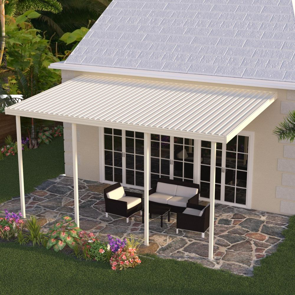 Integra 22 ft. x 10 ft. Ivory Aluminum Attached Solid ... on Home Depot Patio Ideas id=36059