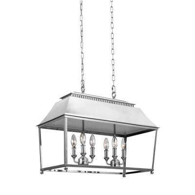 Galloway 6 Light Polished Nickel Billiard Island Chandelier With Glass Shade