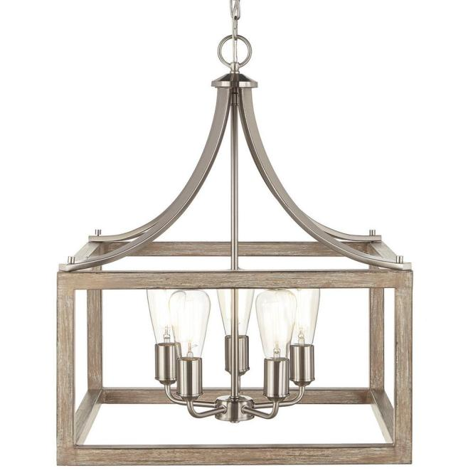 Boswell Quarter Collection 5 Light Brushed Nickel Pendant With Painted Weathered Gray Wood Accents