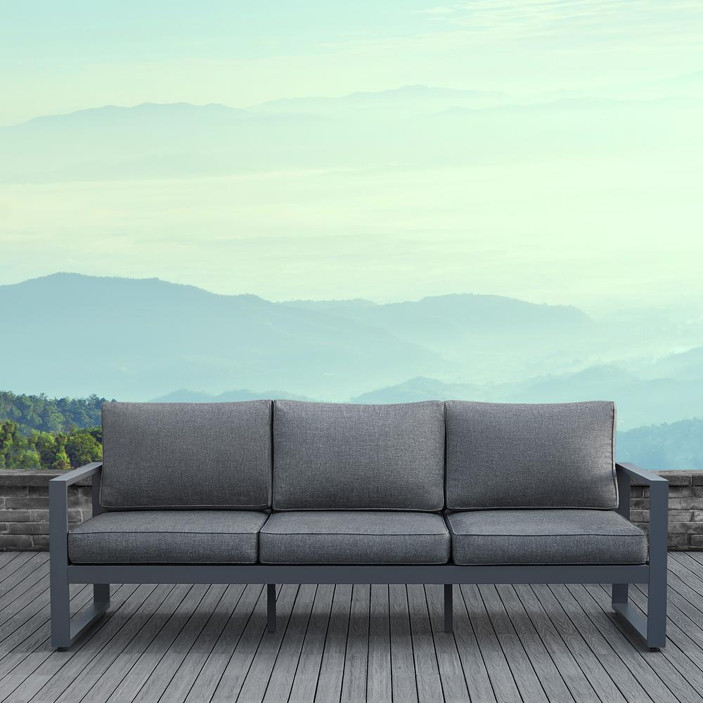 Real Flame Baltic Gray Aluminum Outdoor Sofa with Gray ... on Outdoor Loveseat Sets  id=89524