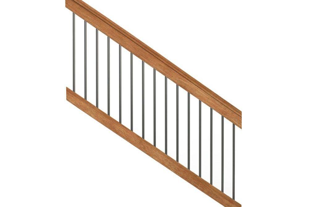 Deckorail Pressure Treated 6 Ft Cedar Tone Stair Deck Railing Kit | Wood Stairs Home Depot | Cedar Tone | Stair Handrail | Stair Riser | Wrought Iron | Carpeted Stairs