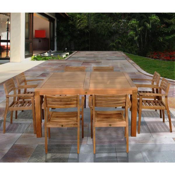teak patio furniture sets Amazonia Victoria Square 9-Piece Teak Patio Dining Set-SC
