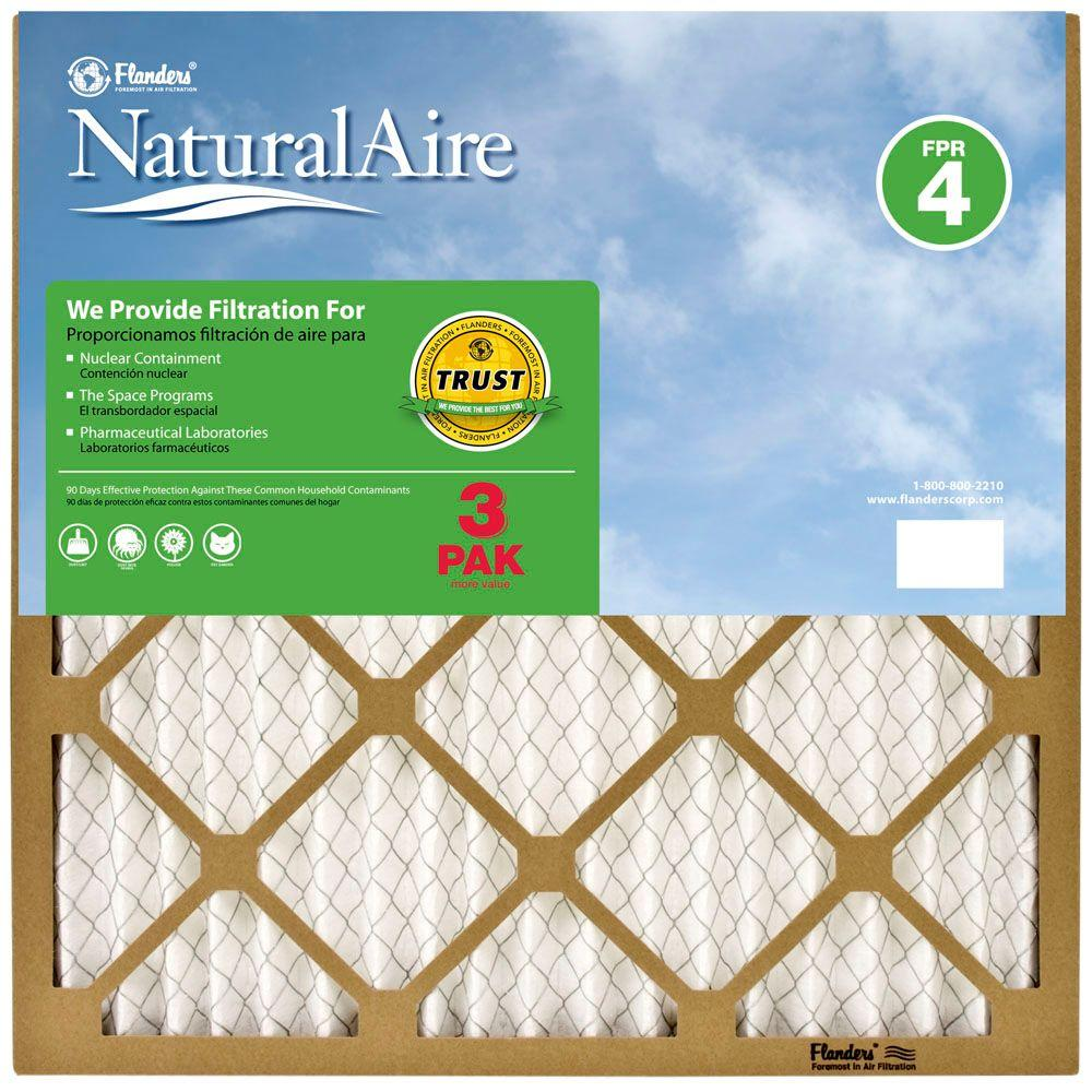 Naturalaire 14 In X 14 In X 1 In Standard Fpr 4 Pleated Air Filter 3 Pack 87355 011414 The Home Depot