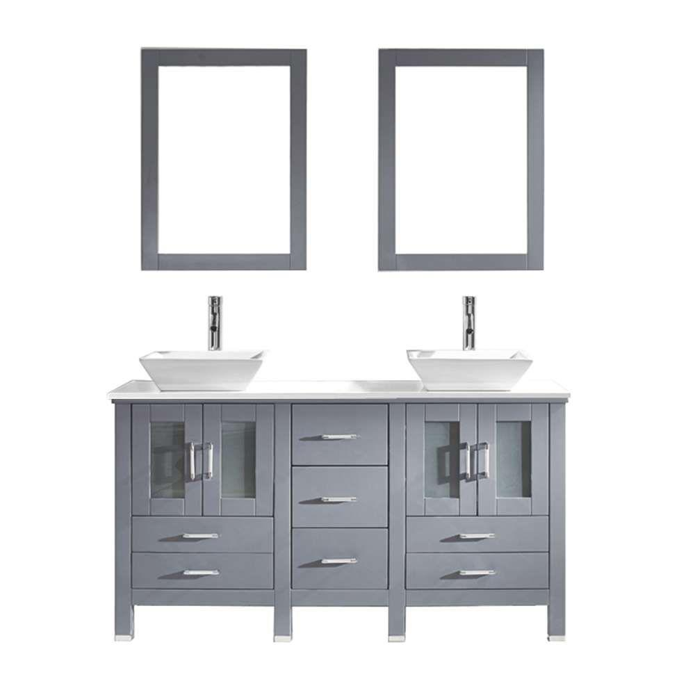 virtu usa bradford 60 in w bath vanity in gray with stone vanity top in