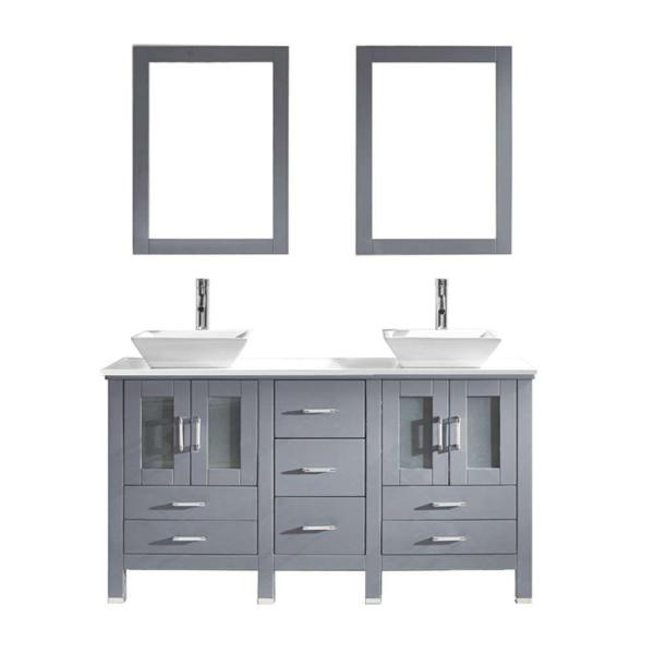 Vessel   Bathroom Vanities   Bath   The Home Depot W Bath Vanity in Gray with Stone Vanity Top in White with