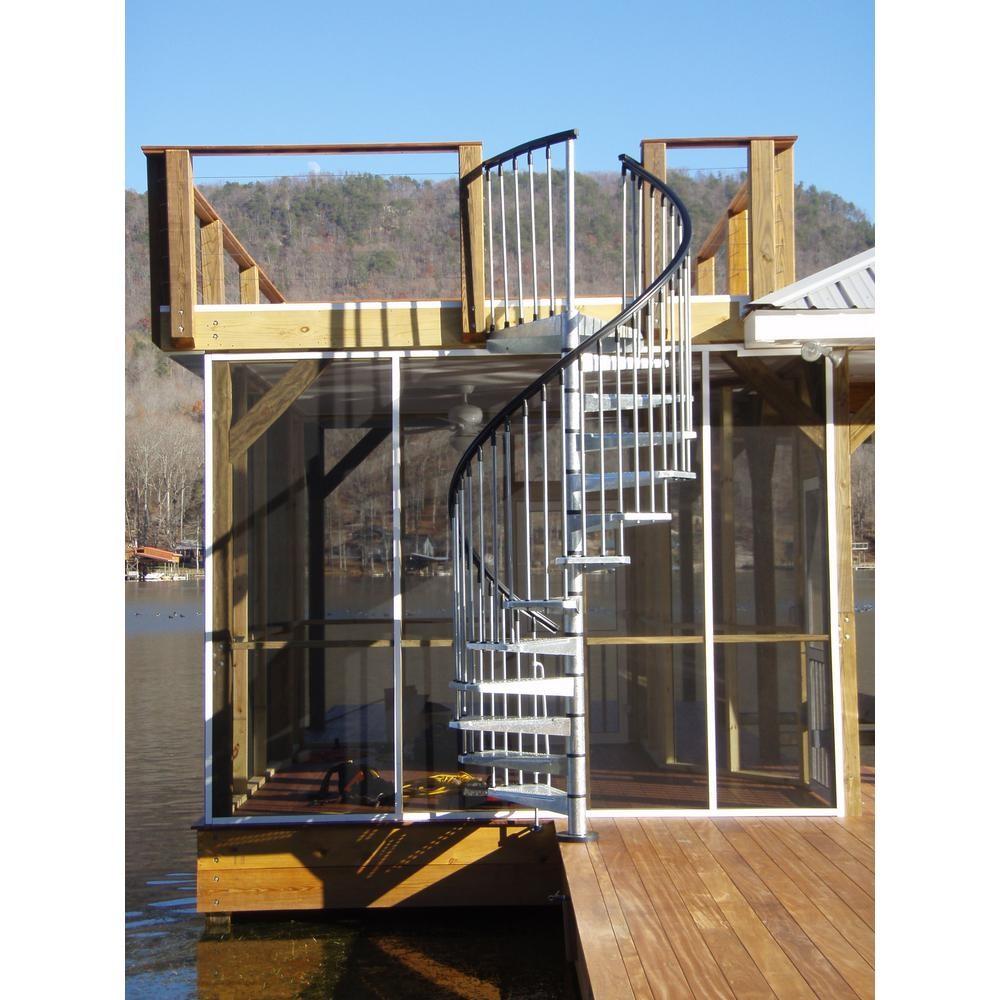 Arke Enduro 63 In Galvanized Steel Spiral Staircase Kit K05003   Spiral Staircase Home Depot   Steel   90 Degree   Alternating Tread   Outdoor   Small Metal