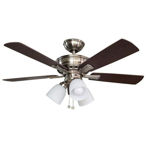 Hampton Bay Vaurgas 44 in  LED Indoor Brushed Nickel Ceiling Fan     LED Indoor Brushed Nickel Ceiling Fan with Light Kit